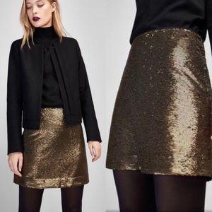 Massimo Dutti Gold Sequin Mini Skirt